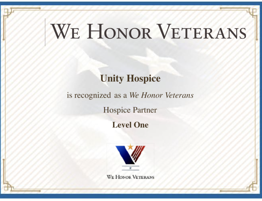 Unity Hospice is Recognized as a We Honor Veterans Partner