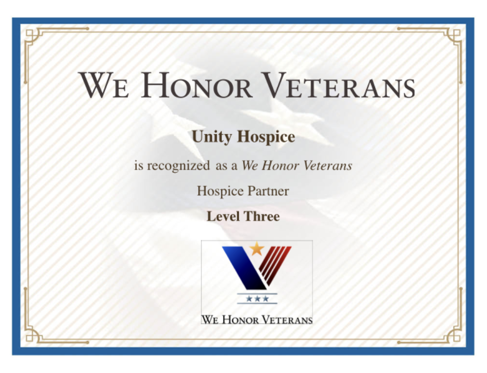 Unity Hospice is now a We Honor Veterans Partner Level Three!